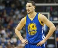 Feb 11, 2015; Minneapolis, MN, USA; Golden State Warriors guard Klay Thompson (11) looks on during the second half against the Minnesota Timberwolves at Target Center. The Warriors won 94-91. Mandatory Credit: Jesse Johnson-USA TODAY Sports