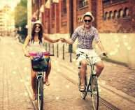 love-in-air-happy-couple-on-bicycles-wide-hd-wallpaper