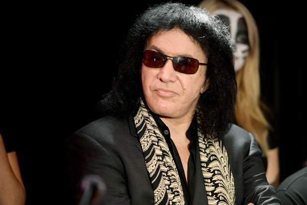 "WEST HOLLYWOOD, CA - AUGUST 21: Musician Gene Simmons of KISS appears at a press conference for their new book ""KISS Monster Book"" at the Viper Room on August 21, 2012 in West Hollywood, California. (Photo by Kevin Winter/Getty Images)"