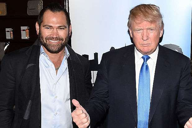 "NEW YORK, NY - FEBRUARY 03: (L-R) TV personalities Johnny Damon, Donald Trump and Ian Ziering attend a ""Celebrity Apprentice"" red carpet event at Trump Tower on February 3, 2015 in New York City. (Photo by Andrew H. Walker/Getty Images)"