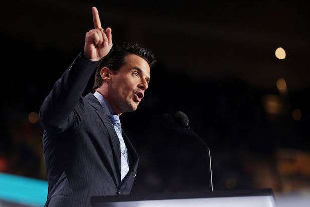 CLEVELAND, OH - JULY 18: Antonio Sabato Jr. delivers a speech on the first day of the Republican National Convention on July 18, 2016 at the Quicken Loans Arena in Cleveland, Ohio. An estimated 50,000 people are expected in Cleveland, including hundreds of protesters and members of the media. The four-day Republican National Convention kicks off on July 18. (Photo by Chip Somodevilla/Getty Images)