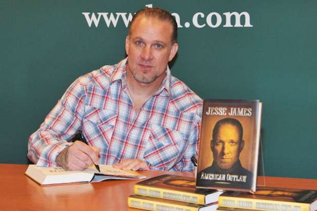 "NEW YORK, NY - MAY 05: TV personality Jesse James signs copies of ""American Outlaw"" at Barnes & Noble, 5th Avenue on May 5, 2011 in New York City. (Photo by Slaven Vlasic/Getty Images)"
