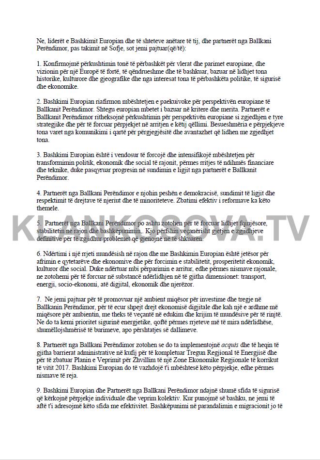 dk1-1 Deklarata e Përbashkët nga Samiti i Sofjes