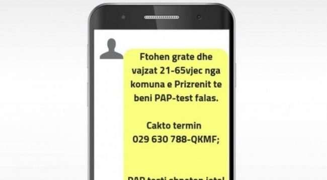 Përmes sms vajzat dhe gratë e Prizrenit ftohen të bëjnë falas PAP Testin